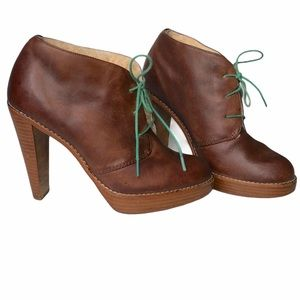 Cole Haan leather fur lined heeled ankle boots